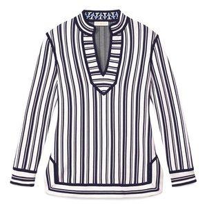 Tory Burch Gina Striped Tunic in Blue S